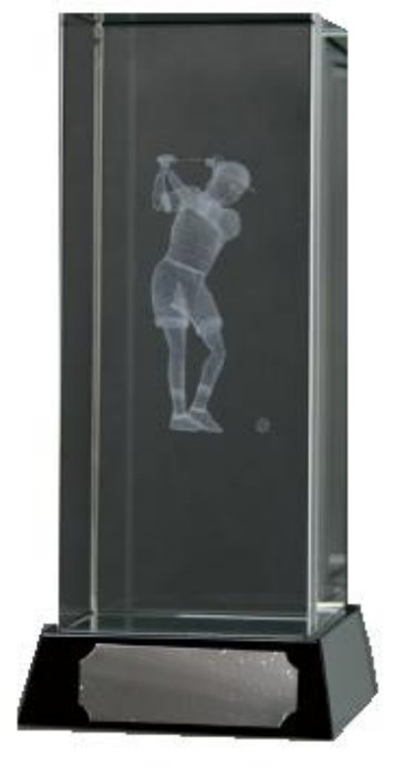 Golf Trophies With 3D Lasered Female Golfer On Black Marble Base