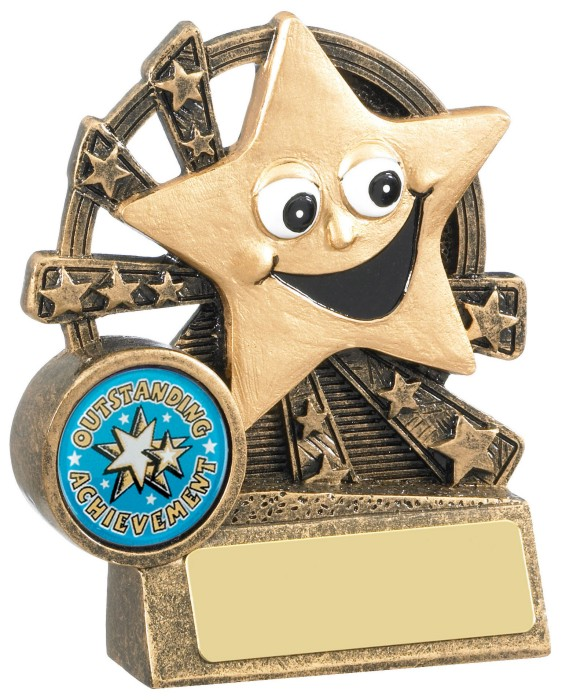 Resin Star Trophies In Antique Gold Coloured Finish