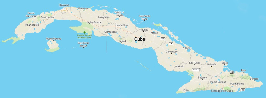 Cuba Map Tropical Cuban Holiday
