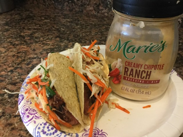 We added this flavorful sauce to our tacos, ate on paper plates and watched an episode of Bloodlines!