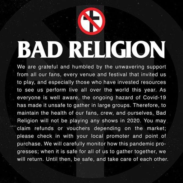 Bad Religion cancela conciertos en 2020