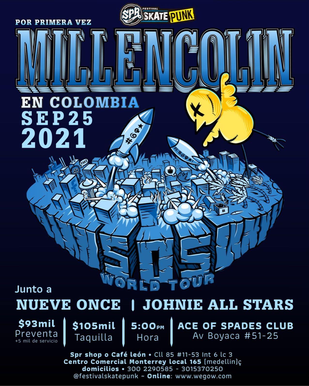 Millencolin en Bogota - Septiembre 25, 2021 con Nueve Once y Johnie All Stars