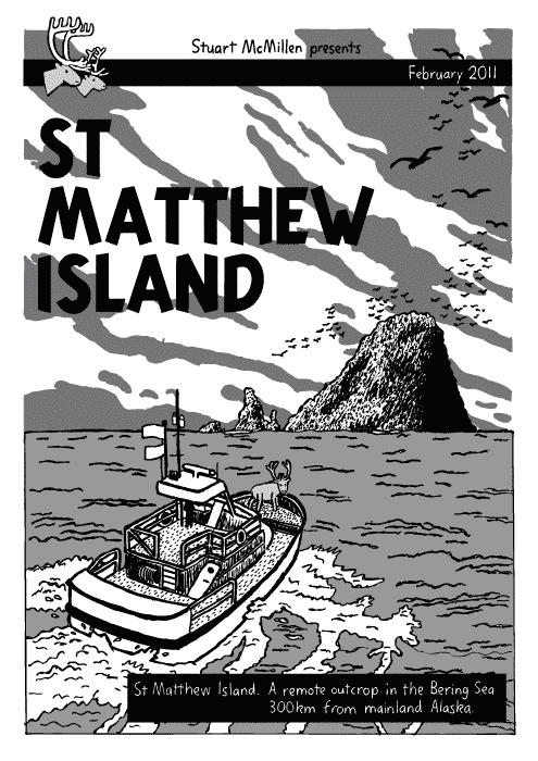 La primera página del comic inspirado en la historia real de los reno de la Isla de San Mateo, por Stuart Mc Millan.