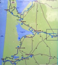 Plano de las zonas de descanso de la Zona norte de la ruta.