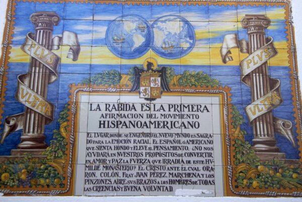PLACA CON LA HISTORIA DEL MONASTERIO DE LA RÁBIDA