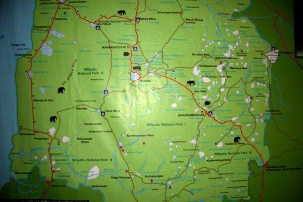 MAPA DEL PARQUE NACIONAL DE WILPATTU