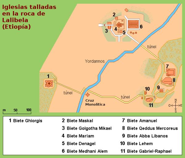 MAPA DE LAS IGLESIAS DE LALIBELA