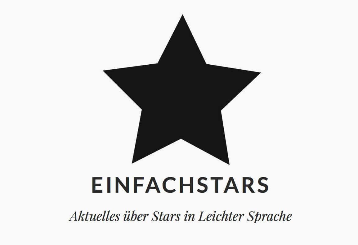 """Logo von einfachstars. Es besteht aus einem schwarzen einfachen Stern, darunter steht """"Einfach Stars – Aktuelles über Stars in leichter Sprache"""""""