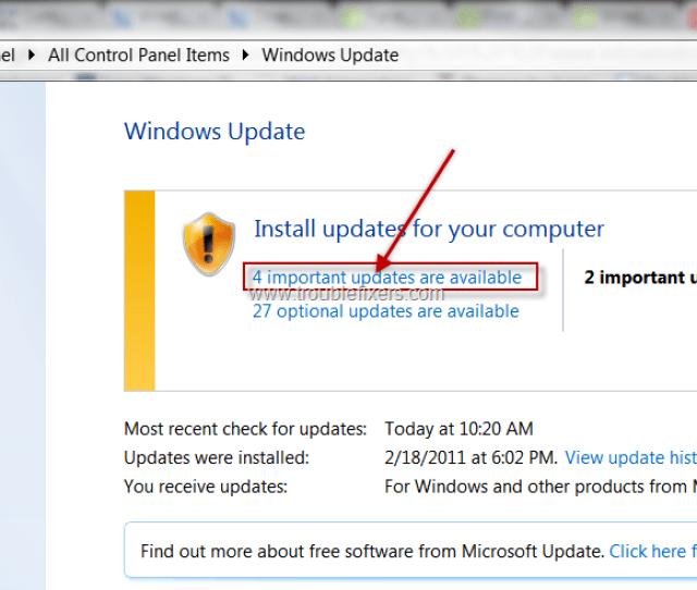 Windows Update In Control Panel