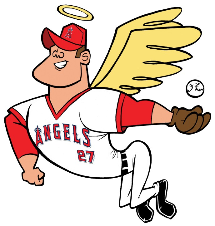 Mike Trout angel catching fly ball