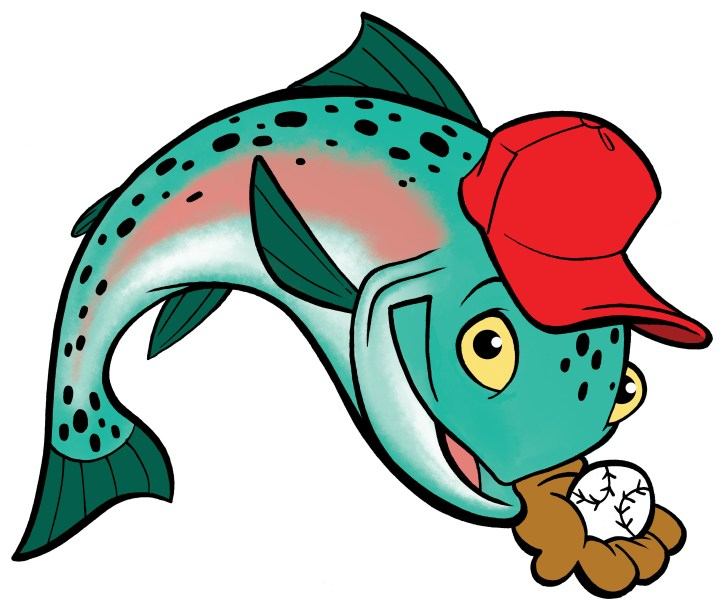 Mike Trout fish cartoon catching ball