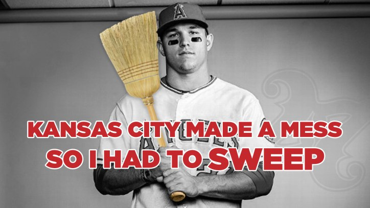 """Mike Trout holding a broom """"kansas city made a mess so I had to sweep"""""""