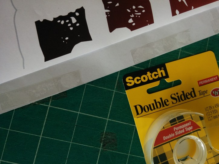 double sided tape on overlapped paper