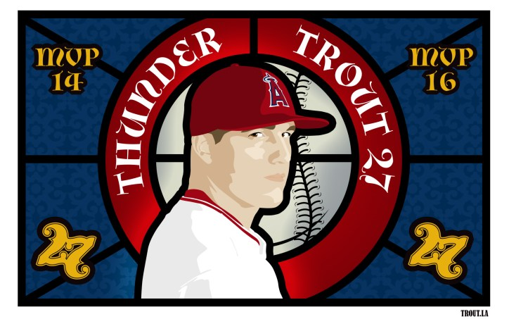 Mike Trout stained glass illustration