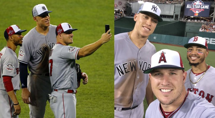 Mike Trout, Aaron Judge, and Mookie Betts at the 2018 All Star Game