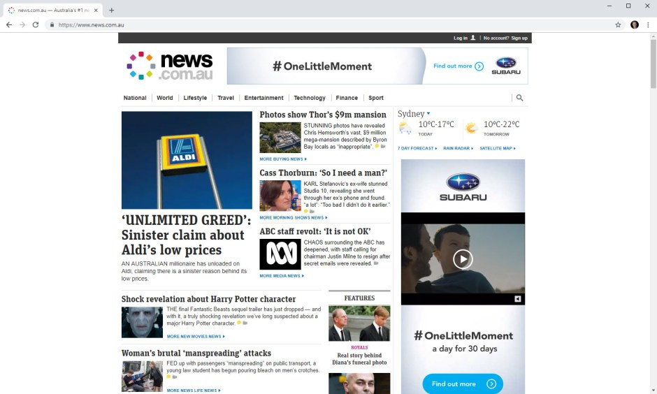 news.com.au without pi-hole