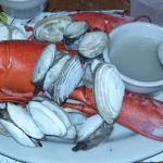 Steamed lobster and clams, classic Maine fare, from J's Oyster Bar on Portland's Historic Waterfront.