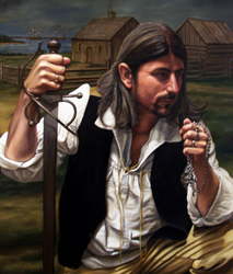 """Augustin Broussard, one of Beausoleil's many sons, signed the contract with Antoine Bernard D'Autrive in New Orleans...(""""Joseph Broussard dit Beausoleil in Acadia"""" by Herb Roe via Wikimedia Commons.)"""