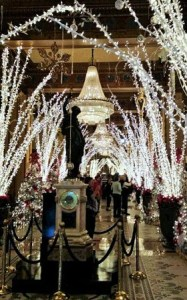 The Roosevelt Hotel is famous for the Christmas extravaganza that encompasses its lavish lobby during December.