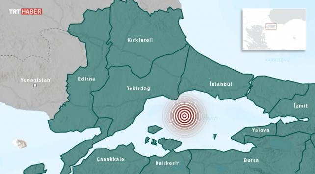 Marmara Denizinde 25 küçük deprem