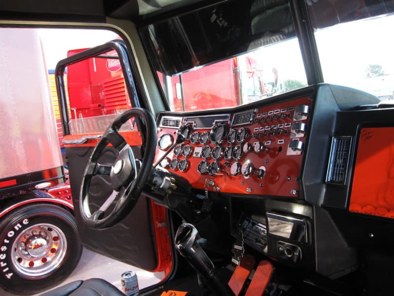 truck driver accessories - inside truck cabin with many gauges