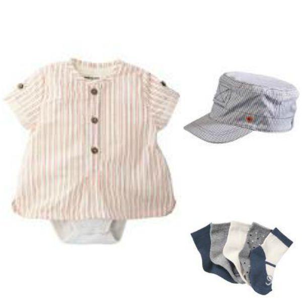 Body, gorra y calcetines de bebé.