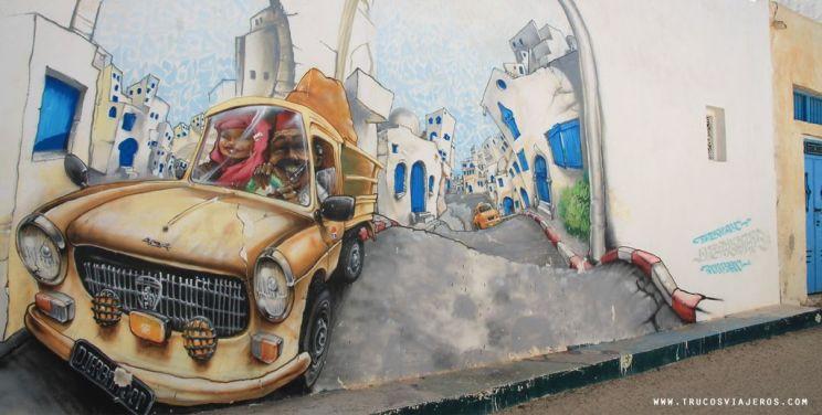 Tunisia car graffiti Nilko France writer