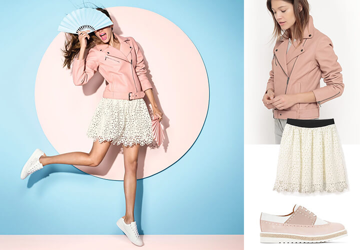 Nouvelle collection La Redoute : perfecto rose, jupe dentelle, derbies