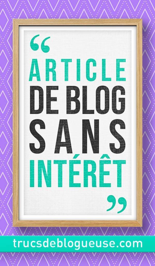 Article de blog sans intérêt
