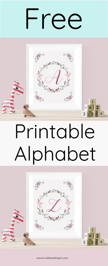 Free floral alphabet printables available to download. These cute art letters with a summer flower wreath are ideal decor for a kid's room or nursery.