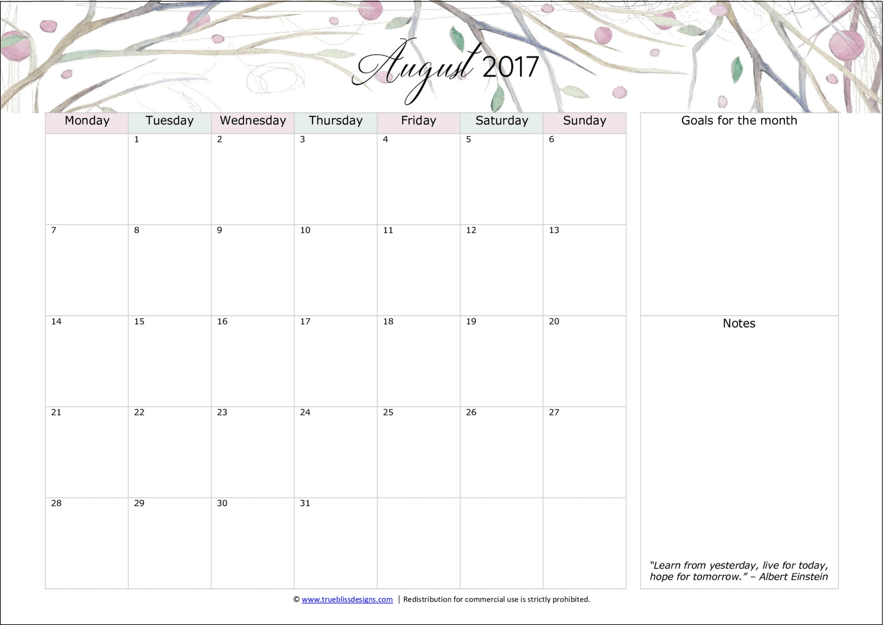 Free Monthly 2017 Calendars