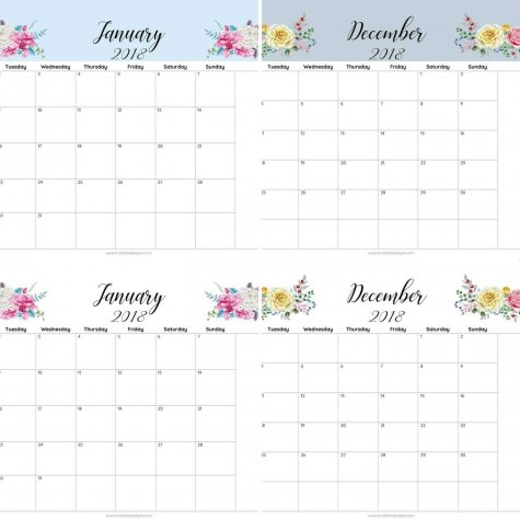 2018 floral printable monthly calendar true bliss designs for Usable calendar template