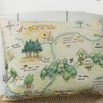 A genuine vintage pencil illustration by E H Shepard of the Hundred Acre Wood map for Nursery or Playroom. Beautiful and interesting pillow, it is like following a pooh story all by itself. Timeless and Classic Winnie the Pooh Map.