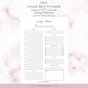 Free daily printable planner in a classic ink-friendly simple design available. This planner would be great for home, school or office organization. Download and check out other simple black and white printable planners at www.trueblissdesigns.com. #printable #planner #planneraddict #freeprintable