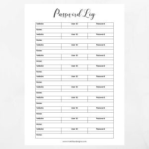 Don't reset your password again! This free printable password log will help you keep your login names in one convenient place. More freebies at www.trueblissdesigns.com