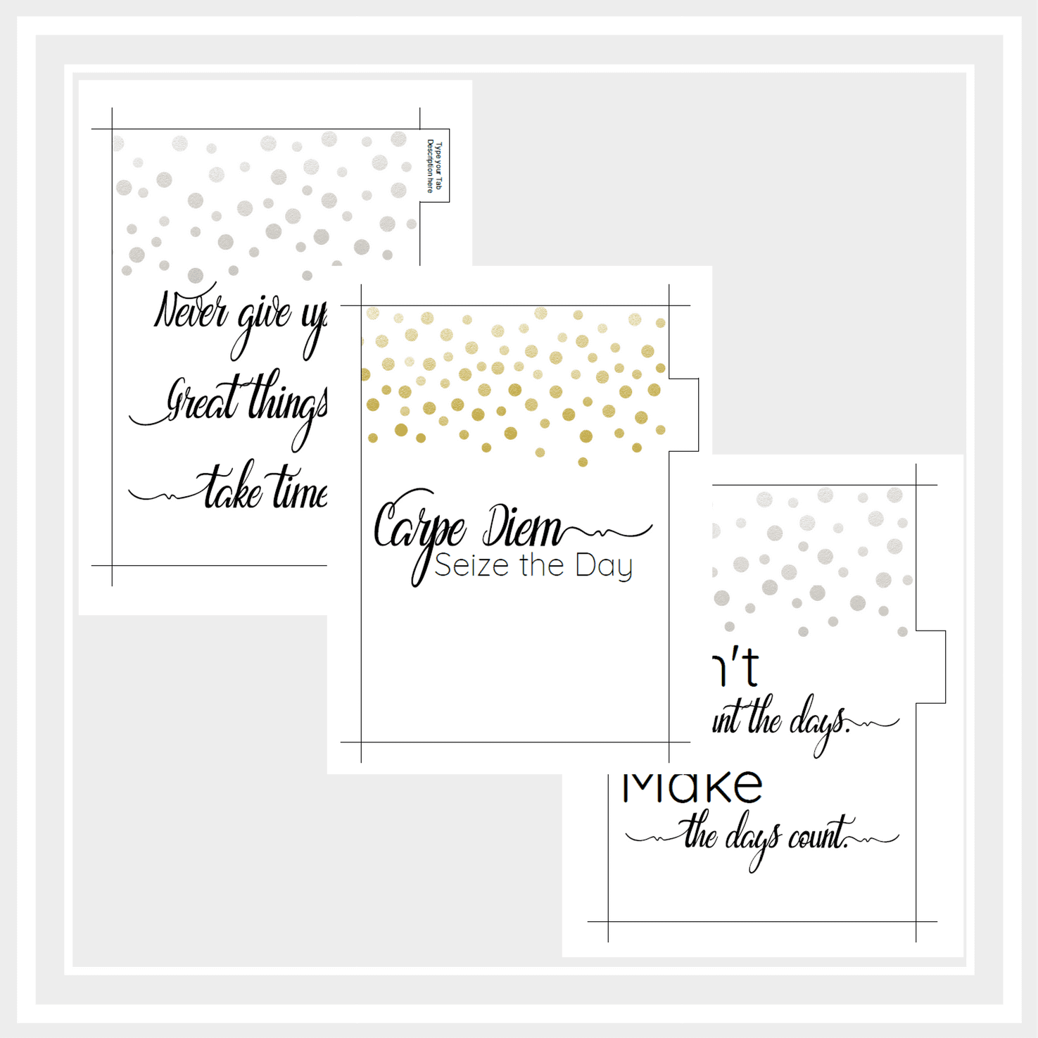 A5 Printable Planner Dividers with Inspirational Quotes