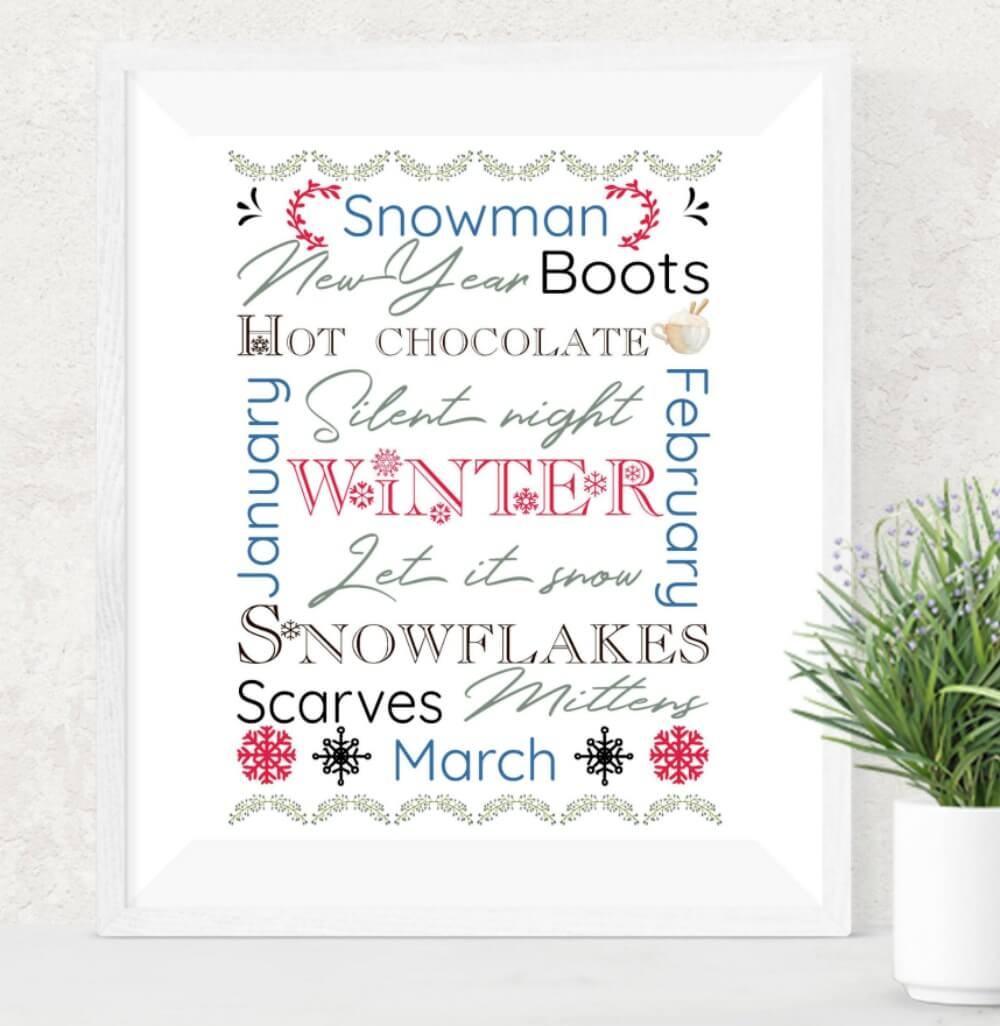 Download a free winter seasonal printable subway art. Includes watercolour illustrations and seasonal fonts. Available in 8x10 size. More freebies at www.trueblissdesigns.com