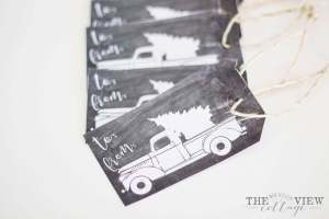 Free Christmas Printable-gift tag vintage truck and Christmas Tree