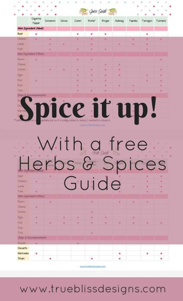 Download this herbs & spices guide to find out the best combinations for your dishes. Make your cooking life easier with this guide - any recipe, no matter what cuisine, can be jazzed up and made special with a few herbs and spices. You will also find some top tips for meal planning. For more freebies, visit www.trueblissdesigns.com