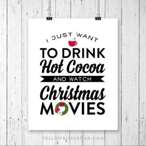 Free Christmas printable: hot cocoa & Christmas movies.