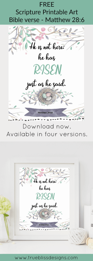 """""""He is not here; he has risen, just as he said."""" Download this free printable art scripture quote from Matthew 28:6. More freebies at www.trueblissdesigns.com"""