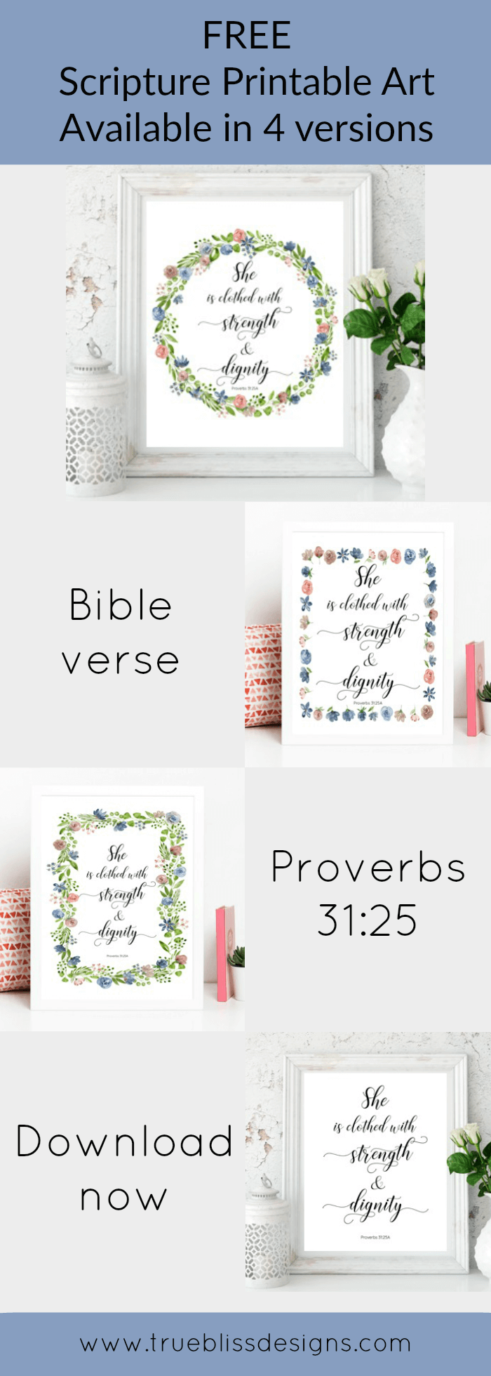 Free printable art scripture quotes from Proverbs 31.25