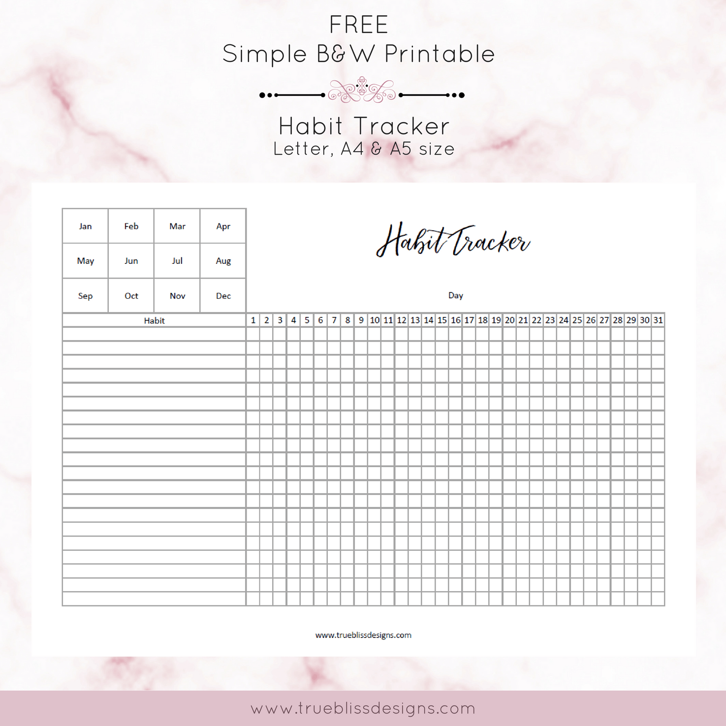 image about Free Habit Tracker Printable known as Pattern Tracker - Genuine Bliss Styles