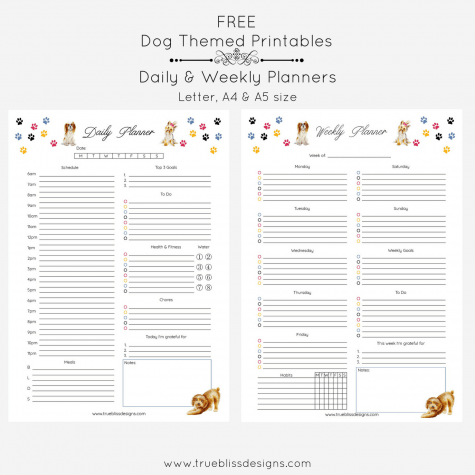 Calling all dog lovers! These cute fun dog themed planners are free to download and a great way to get organized. More freebies at www.trueblissdesigns.com. #freeprintable #doglovers #planner #planneraddict