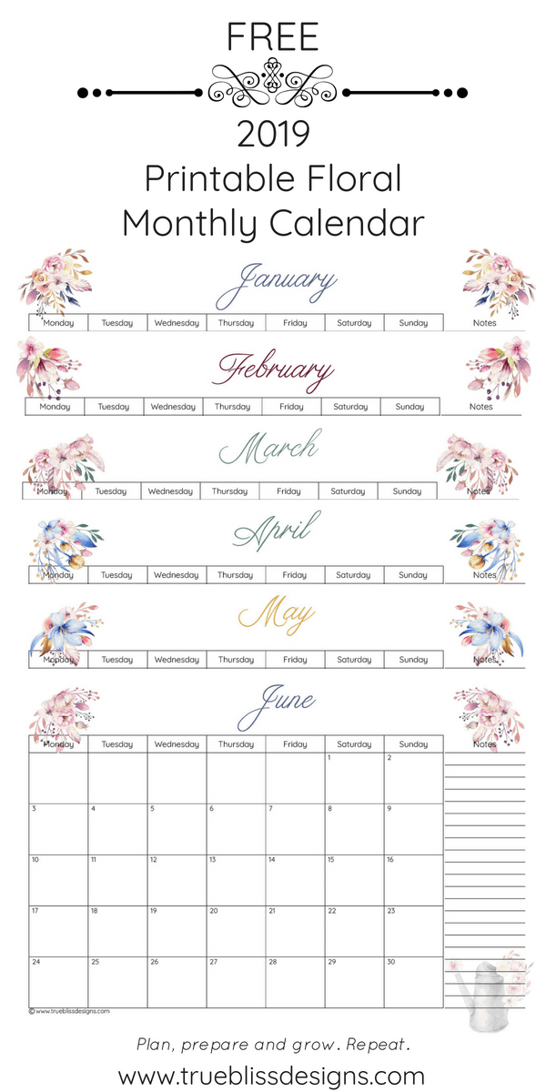 Grab your free 2019 floral printable monthly calendar today! Each month has a different watercolour design and is available in Letter, A4 and A5 size so whether you intend to use it in a planner or binder, there is a size to fit your needs. For more freebies, visit www.trueblissdesigns.com.