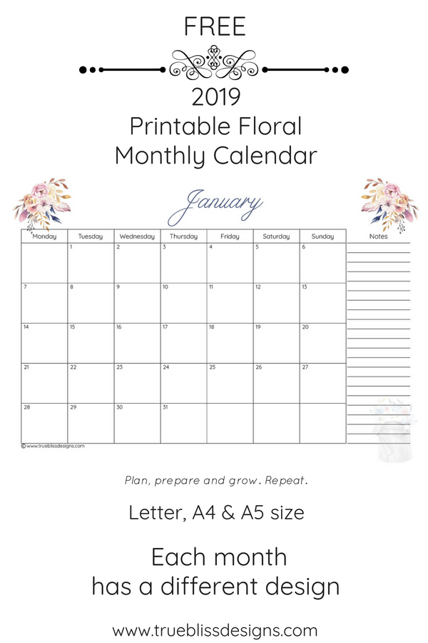 2019 Floral Printable Monthly Calendar True Bliss Designs