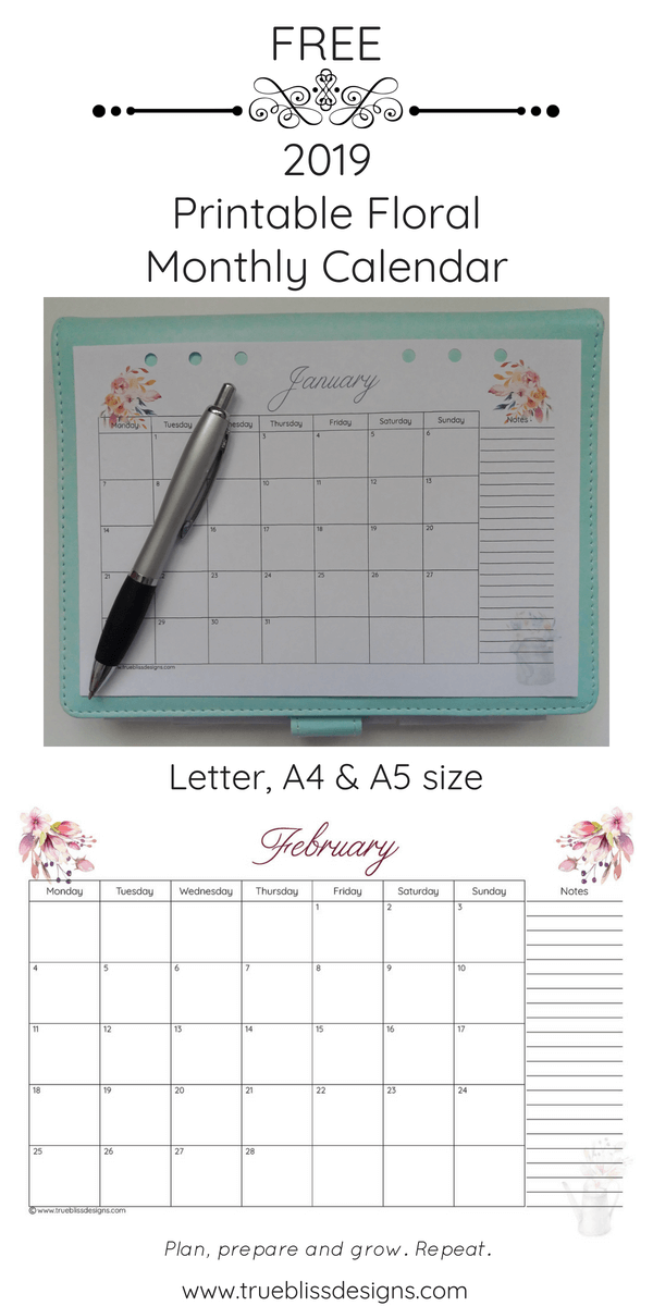 2019 Floral Printable Monthly Calendar Planner Pin True Bliss