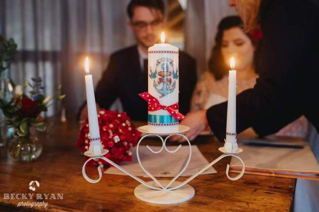 rockabilly unity candle ceremony wedding east quay whitstable kent becky ryan photography independent celebrant katie keen true blue ceremonies