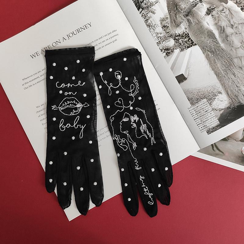 Come On Baby – Tattoo-Handschuhe aus italienischem Netz, Schwarz