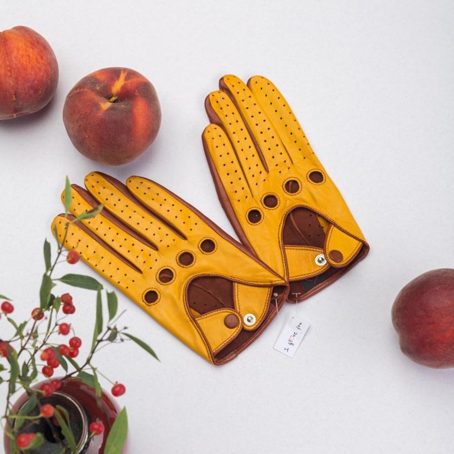 Verdi Schafsleder Autofahrer-Handschuhe Safran